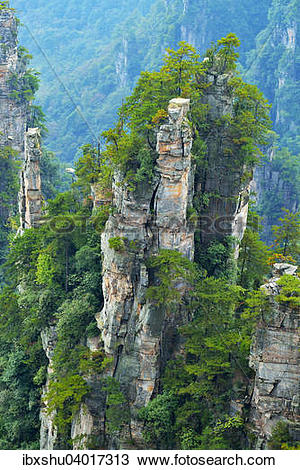 """Stock Photo of """"Tianzishan mountain with vertical rock columns of."""
