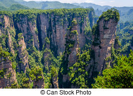 Pictures of Sandstone columns in Zhangjiajie national park, China.