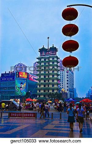 Stock Photo of Group of people walking on road, Zhengzhou, Henan.