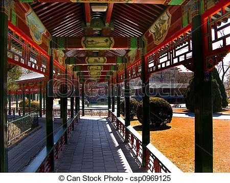 Stock Images of Red Correidor, Zhongshan Park, Beijing China.