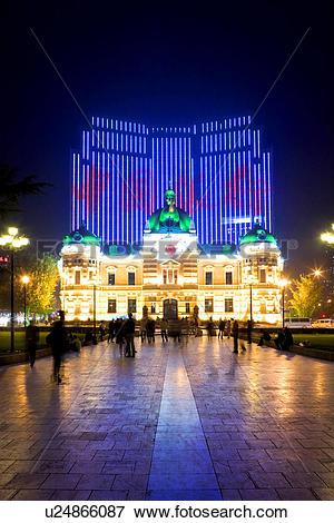 Picture of Zhongshan plaza at night Dalian Liaoning China.
