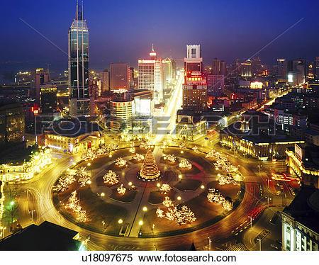 Stock Image of Christmas night scene of Zhongshan Square,Dalian.