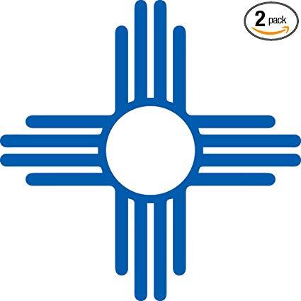 ANGDEST New Mexico Zia Sun Symbol (Azure Blue) (Set of 2) Premium  Waterproof Vinyl Decal Stickers for Laptop Phone Accessory Helmet Car  Window Bumper.