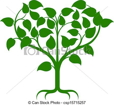 Clipart Vector of Heart tree.