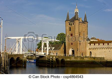 Stock Photos of medieval gate and drawbridge, Zierikzee, Zeeland.