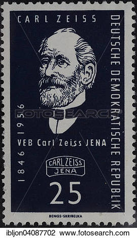 Stock Photo of Carl Zeiss, portrait on a stamp, GDR, 1956.