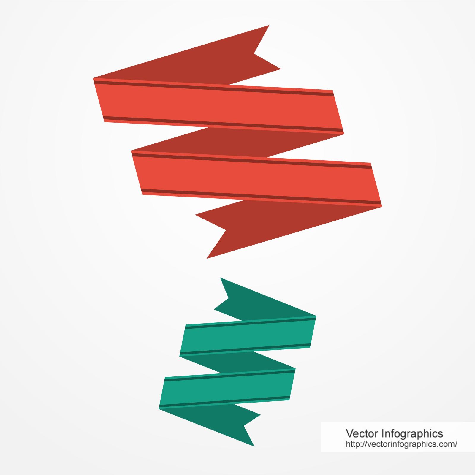 ZigZag shape flat ribbons Free Download Vector Image #76.