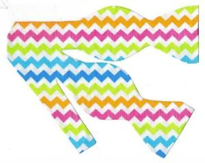 Details about Hot Pink Bow Tie / Blue, Green, Yellow, Pink Zig Zag Stripes  / Self.