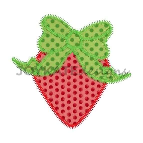 Strawberry with Bow Zigzag Applique Embroidery Design in.