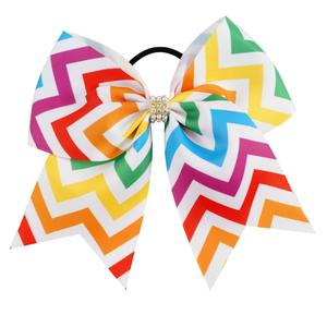 Colorful Zig Zag Cheer Bow.