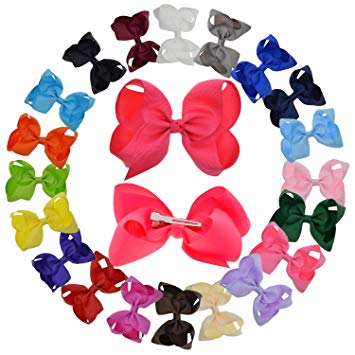 LCLHB Grosgrain Ribbon Bow With Alligator Clips For Babies Teens and  Juniors (4 Inch and Pack of 20).