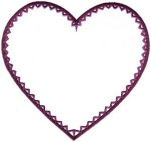 Zig Zag Heart Embroidery Design.