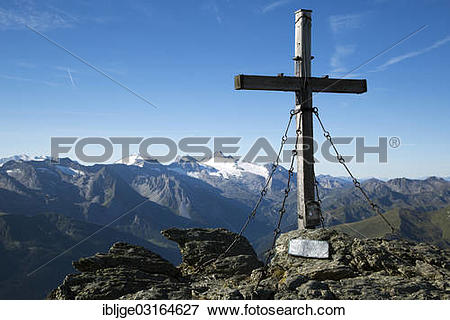 """Picture of """"Summit cross of Rastkogel Moutain in front of the Tux."""