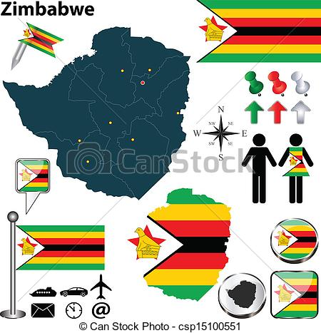 Clipart Vector of Map of Zimbabwe.