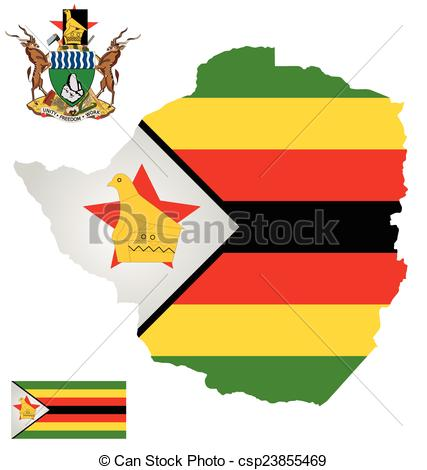 Clip Art Vector of Zimbabwe Flag.