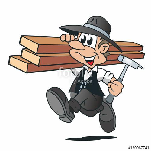 "Cartoon Zimmermann Holzbalken Hammer"" Stock image and royalty."