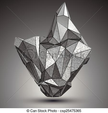 Clip Art Vector of Deformed apex tech zinc object, 3d complex.