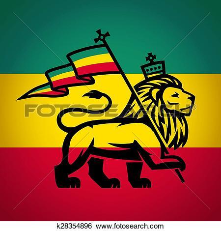 Clip Art of Judah lion with a rastafari flag. King of Zion logo.