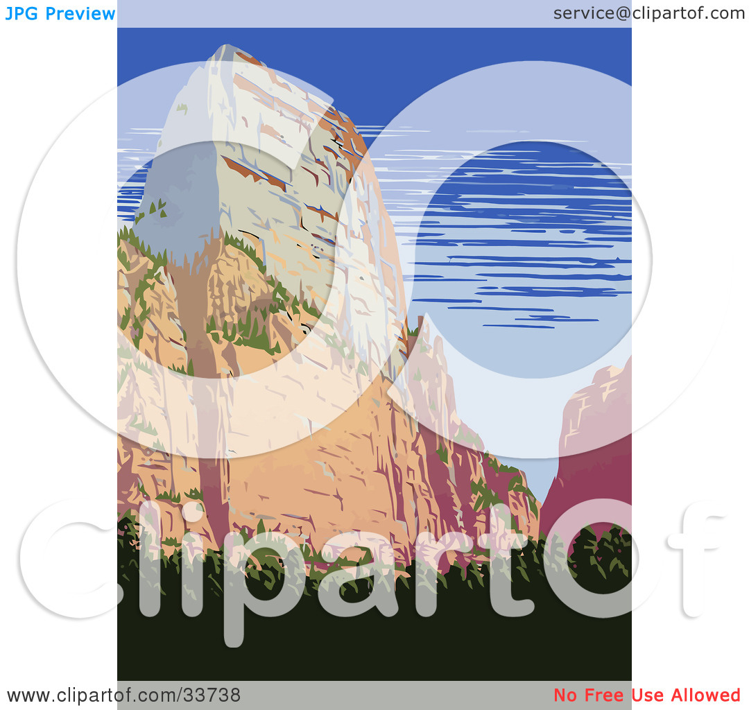 Clipart Illustration of a Formation In Zion National Park, Utah by.