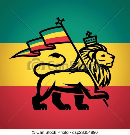 EPS Vectors of Judah lion with a rastafari flag. King of Zion logo.