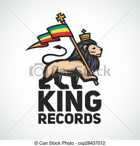 Vector Clip Art of Judah lion with a rastafari flag. King of Zion.