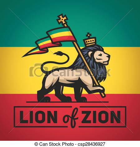Vector Illustration of Judah lion with a rastafari flag. King of.
