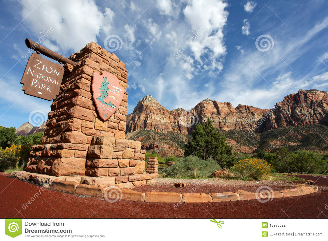 Entrance Sign At Zion National Park Stock Photo.
