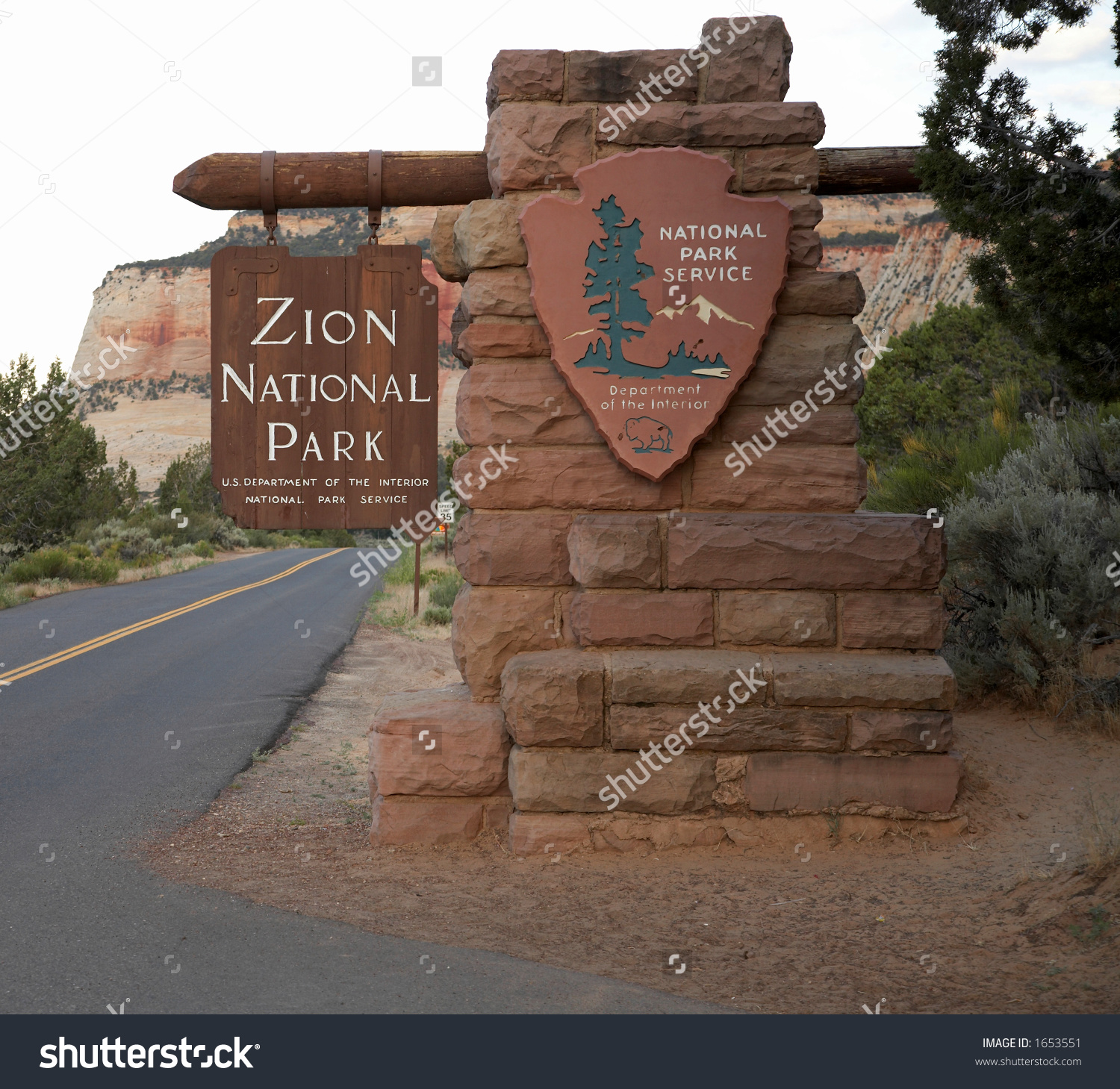 Zion National Park Entrance Sign Stock Photo 1653551 : Shutterstock.