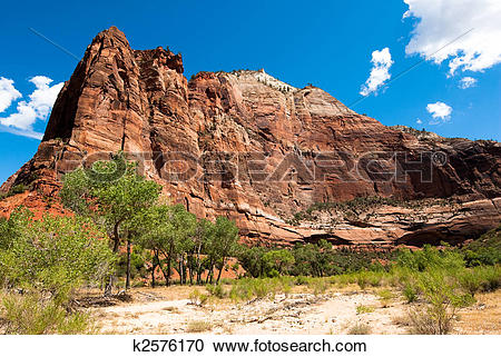 Stock Photography of vertical cliffs in zion national park.