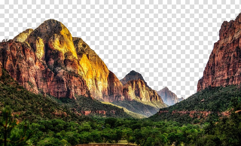 Rocky mountain with trees under blue sky, Zion National Park.