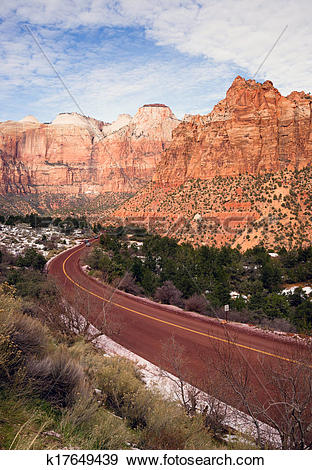 Stock Photograph of Highway 9 Zion Park Blvd Curves Through Rock.