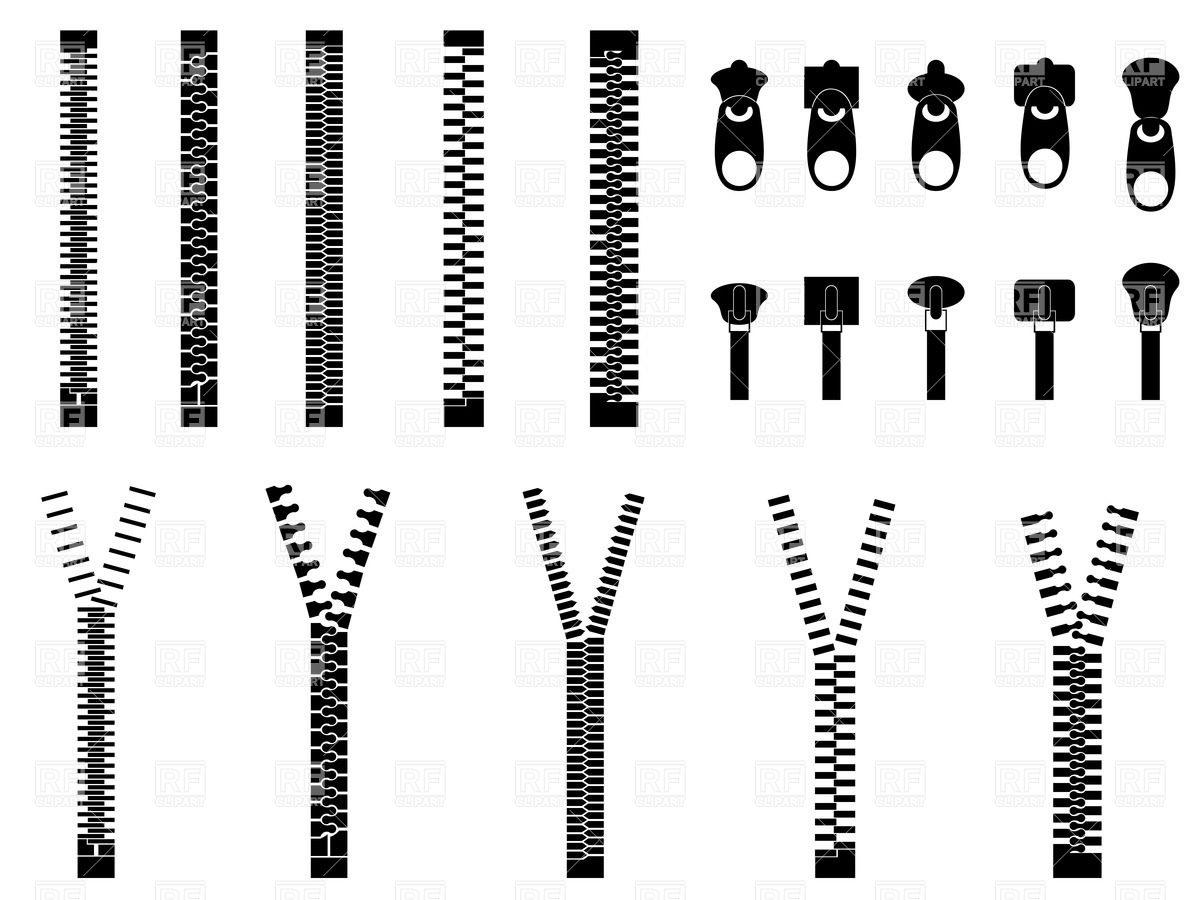 Zipper simple silhouettes Vector Image #34724.
