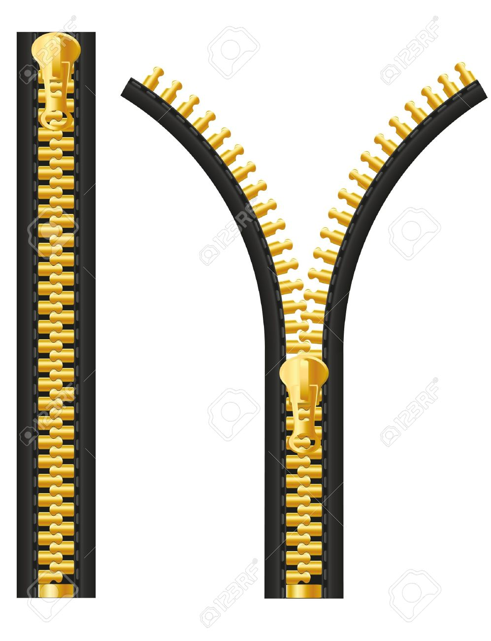 Zipper Illustration Isolated On White Background Stock Photo.