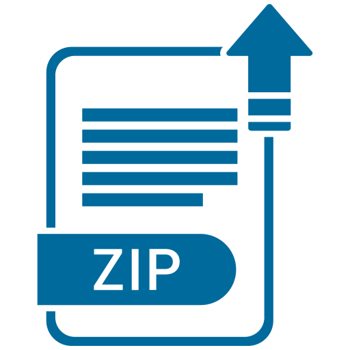 Extension, file, format, paper, zip icon.