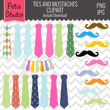 ON SALE Father\'s Day Clipart // Mustache Clipart// Mens Tie Clipart.