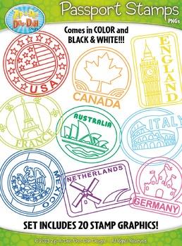 Passport Stamps Clipart Set 1 {Zip.
