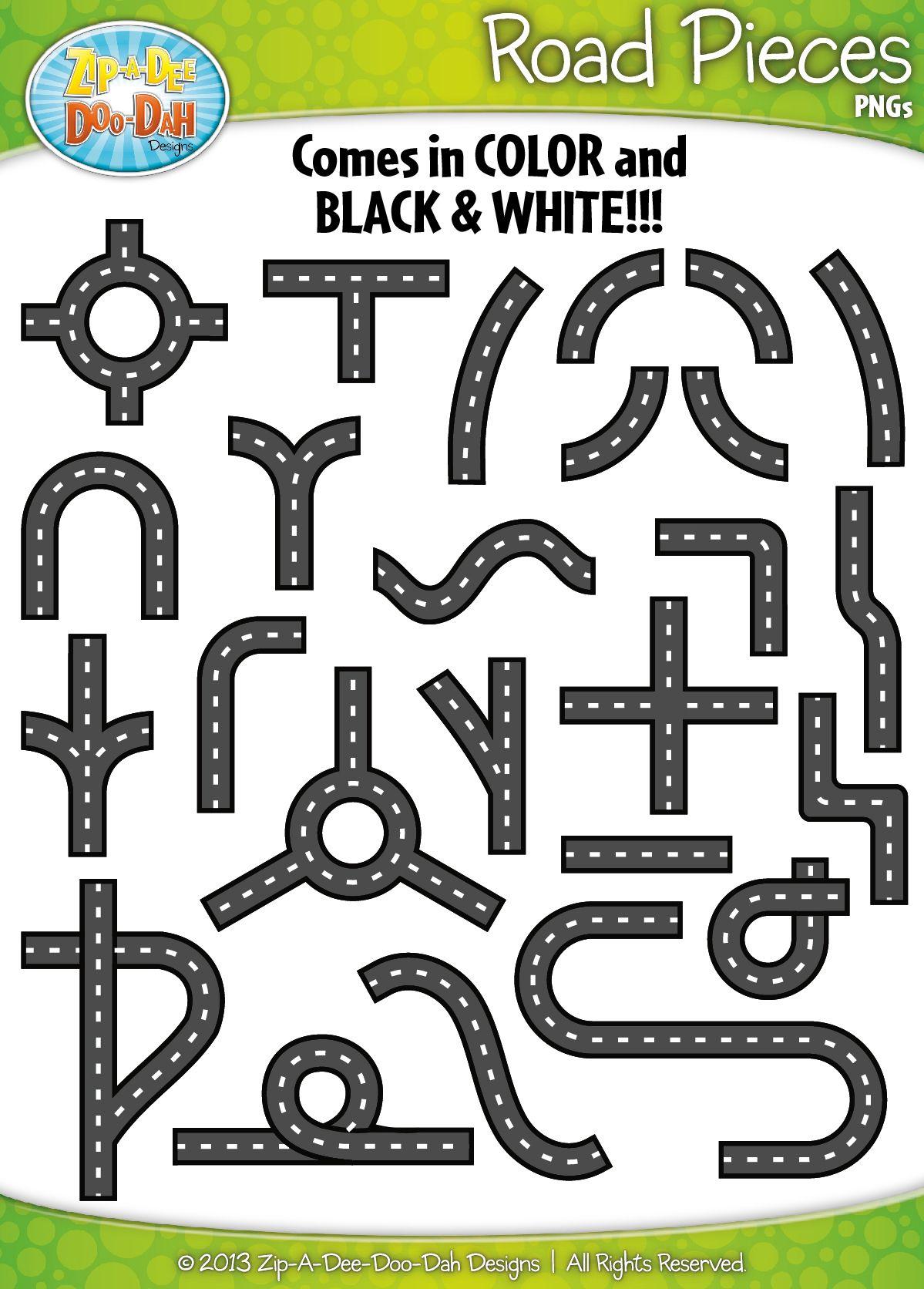 Road Pieces / Build Your Own Clipart Set — Includes 50.