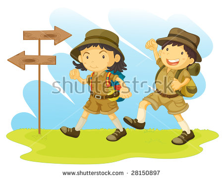 Girl Boy Scout Camping Stock Photos, Royalty.
