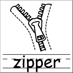 Clip Art: Basic Words: Zipper B&W Labeled.