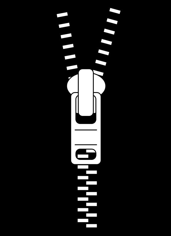 Black and White Zipper Clip Art.