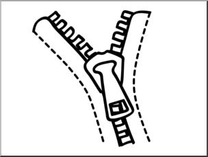 Clip Art: Basic Words: Zipper B&W Unlabeled I abcteach.com.