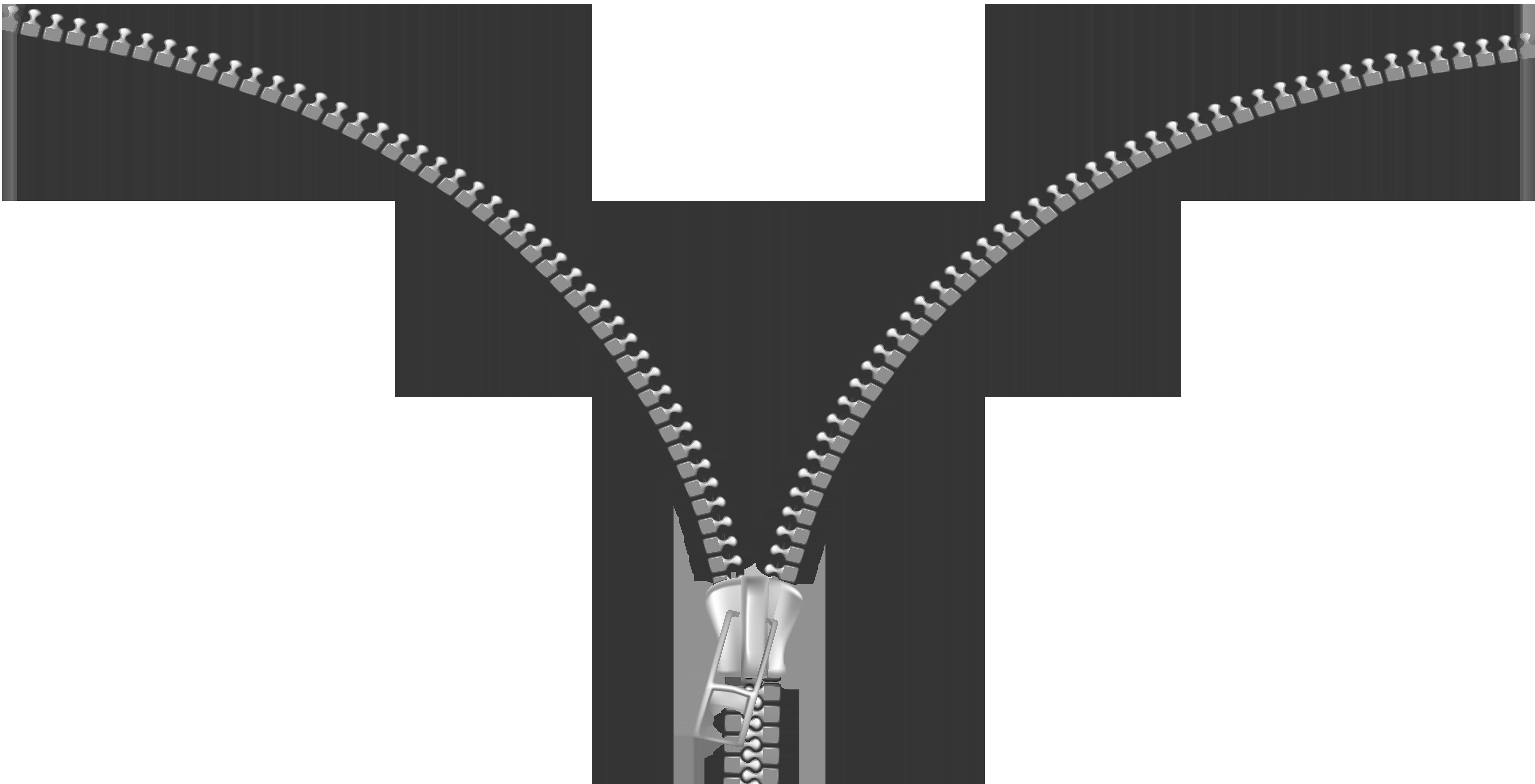 Open Zipper PNG Clip Art Transparent Image.