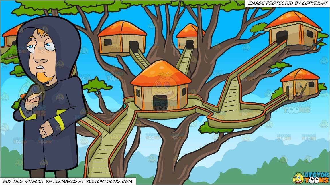 clipart #cartoon A Man Zipping Up His Raincoat and A Tree.