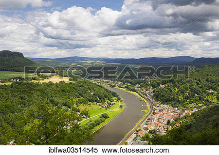 "Stock Image of ""View from Koenigstein Fortress over the town of."