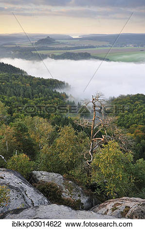 "Stock Photo of ""View from the Schrammsteine rocks over the Elbe."
