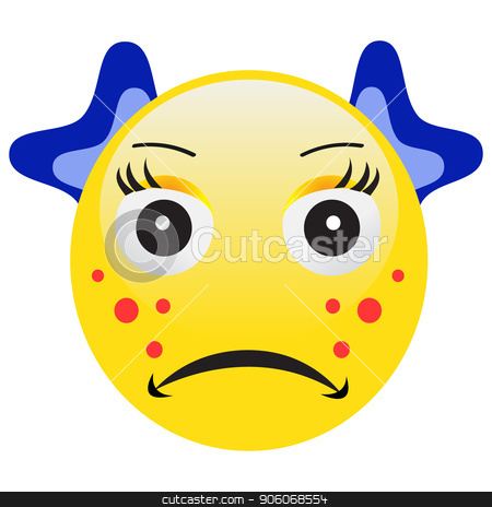 Emoticon with acne squeezing a pimple stock vector.