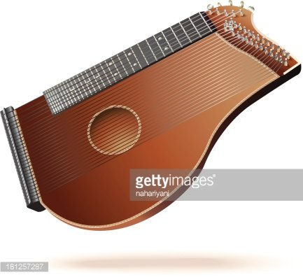 Traditional zither, isolated on white background Clipart.