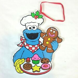 Details about 1993 Vintage Sesame Street Cookie Monster Wood Christmas  Ornament 5\