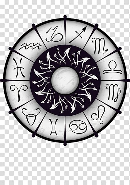 White Zodiac sign wheel art, Zodiac Astrological sign.
