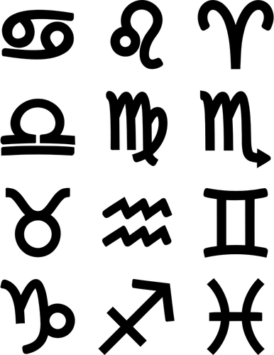Bold zodiac symbols.
